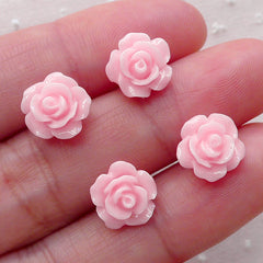 Tiny Light Pink Rose Flower Cabochon Set (4pcs) (10mm) Fake Miniature Cupcake Topper Earring Making Nail Art Decoration NAC056
