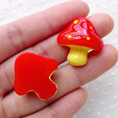 Red Mushroom Cabochons (2pcs / 24mm x 25mm / Flatback) Kawaii Decoden Phone Case Deco Fairytale Scrapbook Whimsical Embellishment CAB492