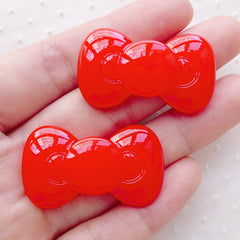 Red Bow Cabochon / Bowtie Kawaii Cabochons (2pcs / 36mm x 21mm / Flat Back) Decoden Phone Case Deco Scrapbook Bow Tie Embellishment CAB493