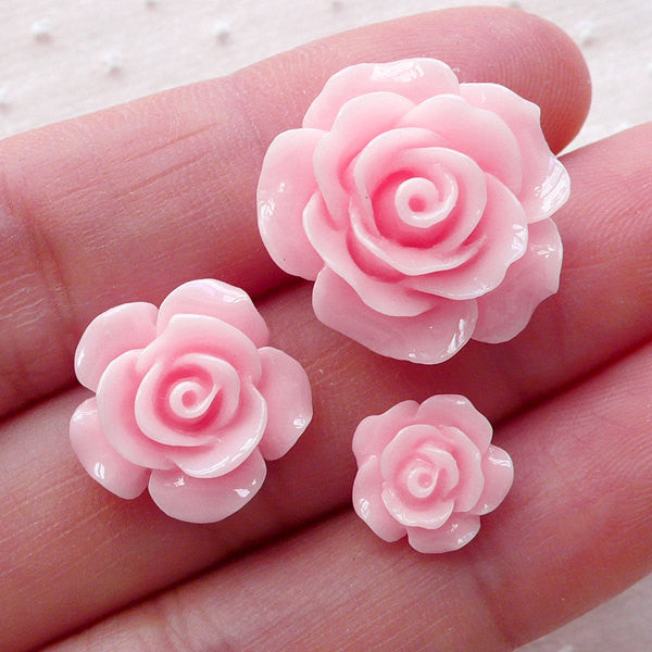 Pink Rose Cabochon Mix / Assorted Flower Cabs (3pcs / 10mm, 15mm & 20mm / Flatback) Floral Phone Case Earrings Hair Bow Hairpin DIY CAB495