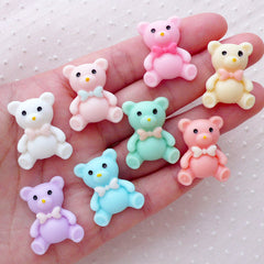 Kawaii Bear Decoden Cabochons / Cute Animal Cabochon (8pcs / 19mm x 24mm / Pastel) Baby Shower Party Decoration Decora Hair Jewelry CAB483