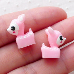 3D Roe Deer Cabochon / Decoden Cabochons (2pcs / 12mm x 15mm / Pink) Kawaii Phone Case Fairy Garden Whimsical Animal Embellishment CAB485