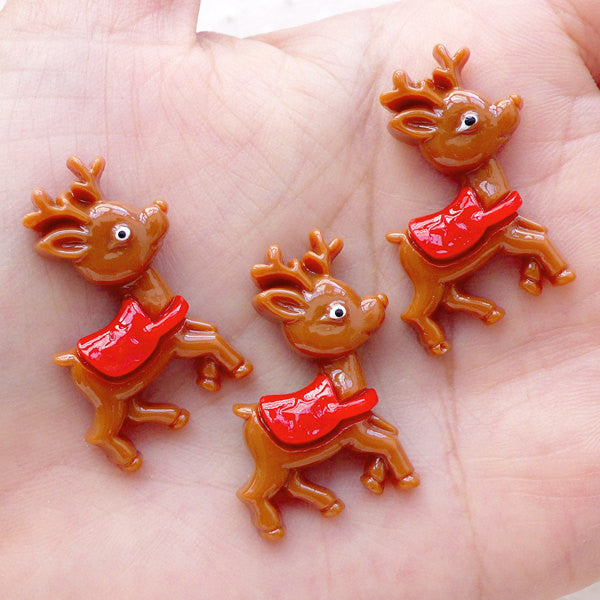 Kawaii Deer Cabochon / Reindeer Animal Cabochons (3pcs / 24mm x 29mm / Flat Back) Whimsical Embellishment Baby Shower Card Making CAB486