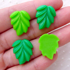 Leaf Cabochons / Leaves Cab (4pcs / 15mm x 19mm / Green & Light Green / Flatback) Floral Embellishment Card Decoration Phone Decoden CAB487