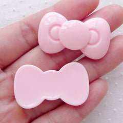 Pastel Pink Bow Cabochon / Bowtie Decoden Cabochon (2pcs / 36mm x 21mm / Flatback) Kawaii Phone Case Decoration Hairclip Hair Pin DIY CAB494