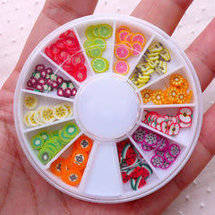 Polymer Clay FRUIT Slices Wheel / Fimo VEGETABLE Slices Mix (120 to 144pcs / Random) Nail Art Wheel Miniature Sweets Dollhouse Food CMX102