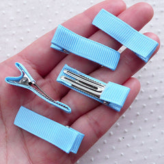 Baby Alligator Clips w/ Grosgrain Ribbon / Non Slip Barrette Blanks / Baby Hairclips (5pcs / Blue) Hair Accessory Toddler Hair Bow DIY F306
