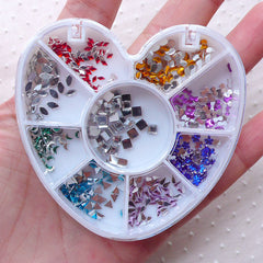 Nail Art Rhinestones Mix (2 to 3mm / Triangle Square Teardrop Flower Bow Crescent Navette Rhombus) Colorful Nail Decoration Manicure NAC293
