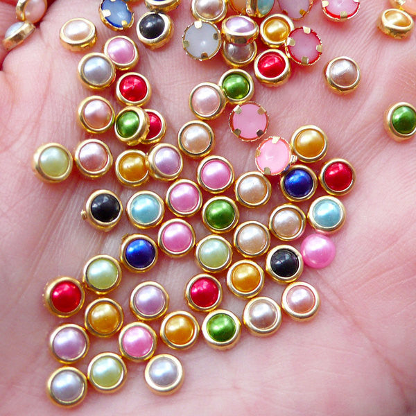 Mini Pearl Gems w/ Gold Accent Rims (50pcs / 4mm / Mix / Flat Back) Assorted Tiny Round Pearl Nail Art Nail Stud Scrapbooking NAC294