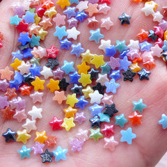 Super Tiny Star Ceramic Cabochon (100pcs / 4mm / Mix / Flatback) Assorted Mini Star Sprinkles Nail Art Stud Embellishment Card Making NAC295