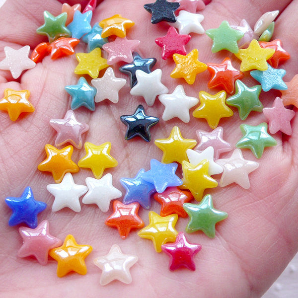 Small Star Ceramic Cabochon (50pcs / 8mm / Colorful Mix / Flat Back) Kawaii Little Star Embellishment Scrapbook Decoden Card Decoration CAB496