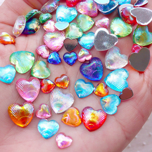 AB Heart Cabochons Mix / Assorted Acrylic Heart Rhinestones (Around 40-50pcs / 5gram / 6mm, 8mm & 10mm / Colorful Mix / Flatback) CAB497