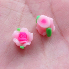 Mini Rose Bud Cabochons / Tiny Polymer Clay Flower Beads (2pcs / 9mm / Pink / Flatback) Floral Nail Decoration Nail Art Earring Stud NAC297