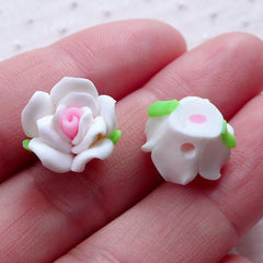 White Rose Cabochon / Polymer Clay Floral Beads (2pcs / 13mm / Flat Back) Fimo Flower Phone Case Deco Earring Stud Hair Clip Making CAB498