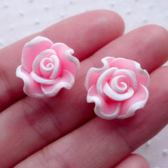 CLEARANCE Polymer Clay Rose Cabochon / Flower Beads (2pcs / 16mm / Pink / Flatback) Fimo Floral Phone Case Decoration Hair Accessories Making CAB499