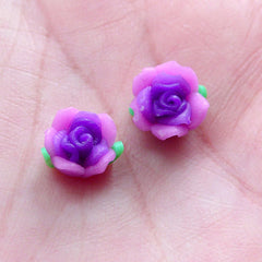Little Rose Bud Cabochons / Mini Flower Beads / Polymer Clay Rose Bead (2pcs / 9mm / Purple / Flat Back) Tiny Fimo Floral Nail Art NAC298
