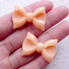 Bow Cabochon / Kawaii Bowtie Cabochons (2pcs / 30mm x 22mm / Light Orange / Flat Back) Decoden Phone Case Embellishment Hair Clip DIY CAB500
