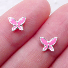 Butterfly Nail Charms (2pcs / 7mm x 5mm / Pink) Insect Cabochons Nail Art Decoration Manicure Floating Charm Mini Earring Stud Making NAC300