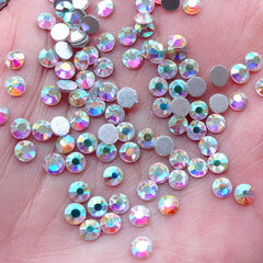 3mm AB Clear Glass Rhinestones / SS12 Crystal / 10 Faceted Cut Round Diamond Gems (Around 120-130pcs) Nail Art Deco Wedding Jewelry RH-G003