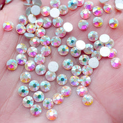 SS16 AB Clear Crystal / 4mm Glass Rhinestones / 12 Faceted Cut Round Diamonds Gems (Around 100pcs / Clear) Nail Art Decoden Case RH-G004