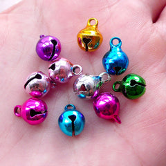 Assorted Jingle Bell Charms (10pcs / 8mm x 11mm / Colorful Mix) Christmas Party Favor Decor Bracelet Anklet Keychain Handbag Charm CHM2113