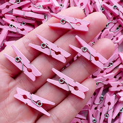 Little Wooden Clothes Pins / Tiny Clothespins / Small Clothespegs / Mini Clothes Pegs (15pcs / 25mm or 1 inch / Pink) Cute Embellishment F194