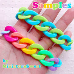 CLEARANCE Large Open Links / Colorful Plastic Chain (Orange / 17mm x 23mm / 10pcs) Acrylic Necklace Kawaii Bracelet Rainbow Chunky Cable Chain F205