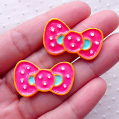 Bow Tie Sugar Cookie Cabochons (2pcs / 30mm x 18mm / Flat Back) Kawaii Phone Case Fake Sweets Deco Lolita Embellishment Whimsical FCAB324