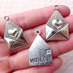 Love Letter Charms / Envelope with Love Charm (3pcs) (18mm x 28mm / Tibetan Silver / 2 Sided) Wedding Valentines Day Gift Favor Charm CHM165