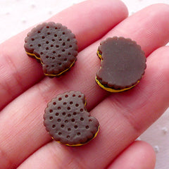 Bitten Chocolate Biscuit Cabochons (3pcs / 13mm / Flat Back) Kawaii Miniature Sweets Cabochon Dollhouse Food Decoden Phone Case Deco FCAB326