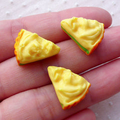 Dollhouse Mango Cake Slice Cabochons (3pcs / 13mm x 17mm / Flatback) Kawaii 3D Miniature Sweets Decoden Phone Case Whimsical Decor FCAB328