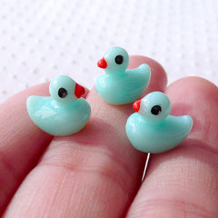 Terrarium Animal Cabochons / Dollhouse Bathing Duck in 3D (7mm x 9mm / Blue / 3pcs) Miniature Bird Kawaii Phone Case Whimsical Decor CAB503