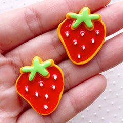 Strawberry Sugar Cookie Cabochons (2pcs / 23mm x 27mm / Flat Back) Decoden Cabochon Faux Miniature Sweets Fake Biscuit Kawaii Decor FCAB322