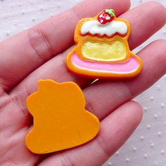 Kawaii Cabochon / Cake Sugar Cookie Cabochons (2pcs / 28mm x 26mm / Flatback) Fake Miniature Sweets Faux Biscuit Cute Decoration FCAB323