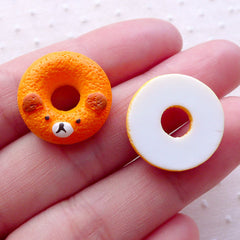 Bear Donut Cabochons / Animal Doughnut Cabochon (2pcs / 18mm / Flatback) Dollhouse Sweets Kawaii Phone Case Super Cute Embellishment FCAB329
