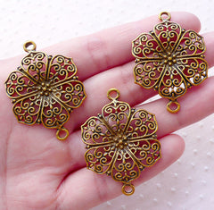 Floral Lace Charm Filigree Connector Flower Link (3pcs / 28mm x 40mm / Antique Gold) Bracelet Bookmark Earrings Handbag Charm Making CHM2115
