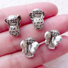 3D Little Fairy Girl Beads (4pcs / 11mm x 14mm / Tibetan Silver / 2 Sided) Fairytale Jewelry Large Hole Bead Slider Bead Bracelet CHM2120