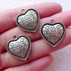 Silver Heart Charms w/ Filigree Pattern (3pcs / 20mm x 22mm / Tibetan Silver / 2 Sided) Wedding Favor Gift Decoration Love Pendant CHM2125