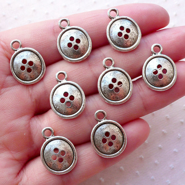 Button Charms / Sewing Needlework Charm (8pcs / 13mm x 17mm / Tibetan Silver) Mothers Day Favor Charm Sewing Lovers Seamstress Gift CHM2127