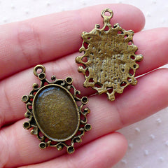 3 x Antique Bronze Cabochon Setting Flower Connectors 37mm x 32mm