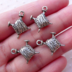 Yarn and Needle Charms / Knitting Charms / Ball of Wool Charm (4pcs / 16mm x 20mm / Tibetan Silver / 2 Sided) Mother Mom Mum Knitter CHM2126