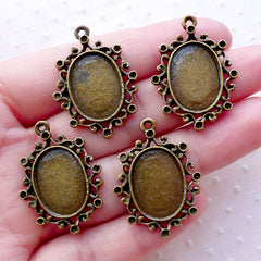 Filigree Bezel Setting / 13mm x 18mm Oval Cameo Cabochon Holder / Collage Sheet Tray (5pcs / Antique Bronze) Memory Charm Pendant Tray F310