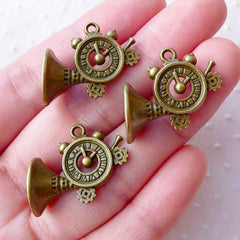 3D Hunters Trumpet Charms Round Clarin Trumpet Pendant (3pcs / 24mm x 19mm / Antique Bronze / 2 Sided) Music Instrument Musician CHM2142