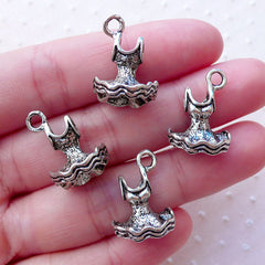 3D Ballerina Dress Charms Ballet Dress Party Dress Tutu Dresses (4pcs / 14mm x 19mm / Tibetan Silver / 2 Sided) Clothes Fashion CHM2132