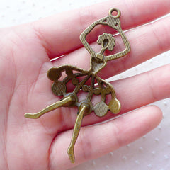 Large Ballerina Charms Big Ballet Dancer Pendant (1pc / 34mm x 68mm / Antique Bronze) Necklace Key Ring Keychain Purse Handbag Charm CHM2146