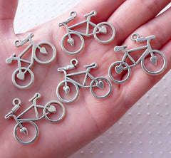 Silver Bicycle Charms Bike Pendant (5pcs / 31mm x 24mm / Tibetan Silver) Cycle Biking Cycling Necklace Bracelet Sports Jewellery CHM2149
