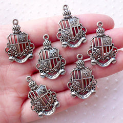 CLEARANCE School Badge Charms (6pcs / 19m x 29mm / Tibetan Silver) Earrings Pendant Necklace Brooch Bookmark Handbag Purse Zipper Pull Charm CHM2156