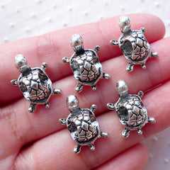 Silver Turtle Beads / 3D Animal Bead (5pcs / 13m x 18mm / Tibetan Silver) Focal Bead Big Hole Bead Beach Jewellery European Bracelet CHM2158