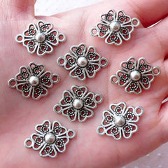 Silver Flower Connector Charm Floral Links (8pcs / 21mm x 16mm / Tibetan Silver) Nature Bracelet Necklace Everyday Jewellery Making CHM2148