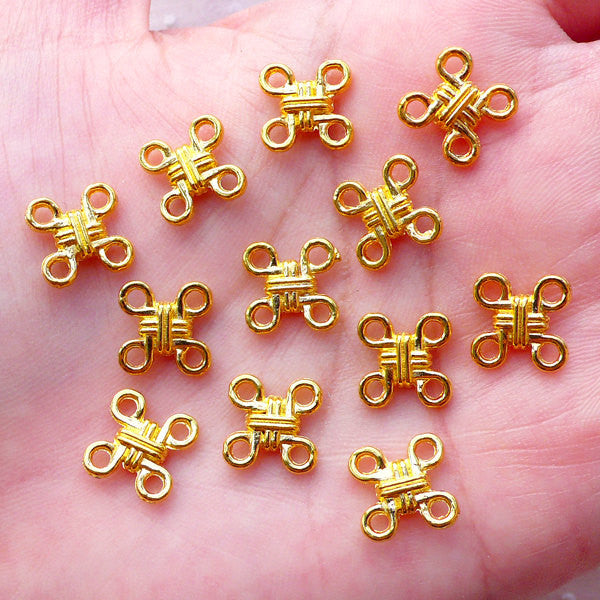 Chinese Knot Charms / Mini Oriental Knot Links (12pcs / 10mm / Gold / 2 Sided) Necklace Bracelet Connector Everyday Jewelry Making CHM2154